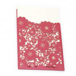 Картичка дантела цветя 185x125 мм цвят цикламен и злато с плик