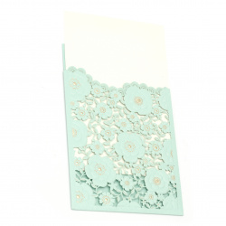 Card lace flowers 185x125 mm color blue and gold with envelope