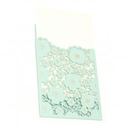 Картичка дантела цветя 185x125 мм цвят син и злато с плик
