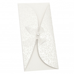 Card curved ribbon with pearl 220x105 mm white with envelope