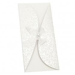 Картичка извита панделка с перла 220x105 мм цвят бял с плик