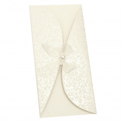 Card curved ribbon with pearl 220x105 mm ecru color with envelope