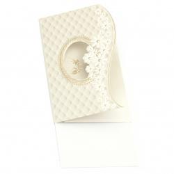 Картичка сватбена цветя и гълъби 195x125 мм цвят бял с плик