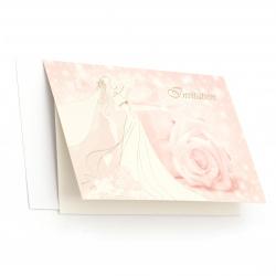 Картичка/покана сватбена 190x125 мм цвят розов с плик