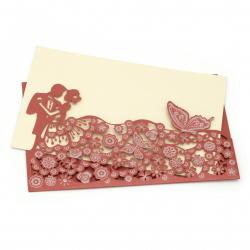 Картичка дантела пеперуди и цветя 190x120 мм цвят червен с плик