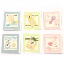 URSUS μίνι χειροποίητες κάρτες BABY με επιπλέον φύλλο και φάκελο 6 διαφορετικά μοτίβα -1 τεμάχιο