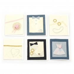 URSUS колекция мини картички Wedding картонена кутия с 60 ръчно изработени мини поздравителни картички с допълнителен лист и плик 6 мотива асорти -1 брой