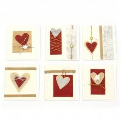 Colecție URSUS de mini carduri Felicitări de inimă lucrate manual cu foaie suplimentară și plic 6 motive asortate -1 bucată