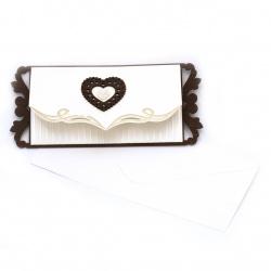 Картичка дървена със сърце 235x105 мм цвят крем с плик