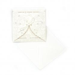 Картичка с панделка и цветя 115x115 мм цвят бял с плик
