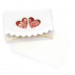 Картичка цветя и сърца 119x125 мм цвят бял, червен с плик