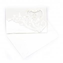 Картичка сърце и гълъби 190x125 мм цвят бял с плик