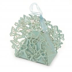 Кутия картонена сгъваема 95x105x45 мм пеперуди цвят син перлен