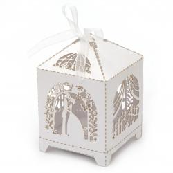 Кутия картонена сгъваема 90x55x55 мм младоженци цвят бял перлен