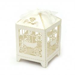 Кутия картонена сгъваема 90x55x55 мм каляска цвят бял перлен