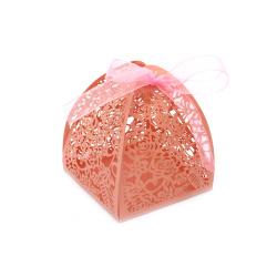 Кутия картонена сгъваема 80x63x63 мм цветя цвят розов перлен