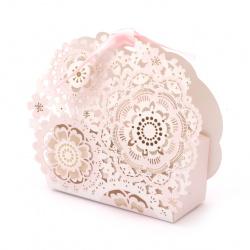 Κουτί δώρου, χάρτινο με λουλούδια 90x105x30 mm ροζ και χρυσό