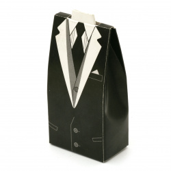 Кутия картонена сгъваема 105x50x30 мм за мъж цвят бял и черен