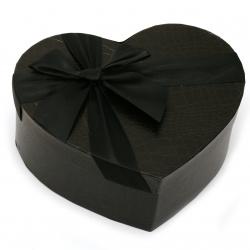 Кутия за подарък сърце 160x190x70 мм черна