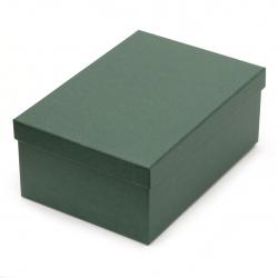 Кутия за подарък правоъгълна 18.5x12x7 см зелена тъмено