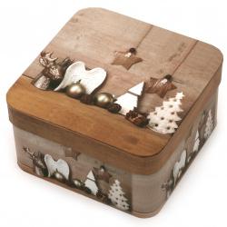 Кутия за подарък с коледни мотиви 150 x150 мм АСОРТЕ