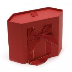 Кутия за бижута 150x195x80 мм тип чанта цвят червен