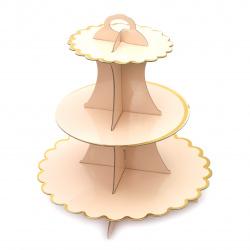 Картонена стойка за мъфини на три нива 33x28.5 см бледо розова