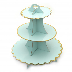 Картонена стойка за мъфини на три нива 33x28.5 см синя