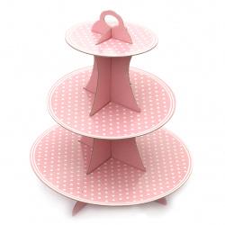 Картонена стойка за мъфини на три нива 33x28.5 см розова на точки
