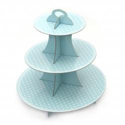 Suport din carton pentru brioșe pe trei niveluri 33x28,5 cm albastru cu puncte