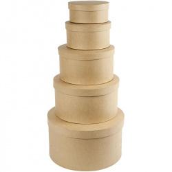 Кутия кръгла с капак папие маше 24x13 см кокос -1 бр