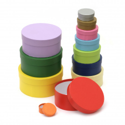 Комплект цветни картонени кутии за декориране кръгли FOLIA от 4 до 15 см -12 размера