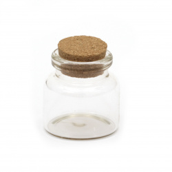 Glass jar 30x30 mm cork stopper 28 ml