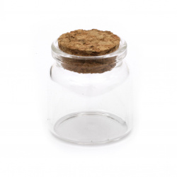 Glass jar 37x40 mm cork stopper 45 ml