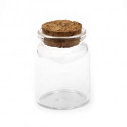 Γυάλινο βάζο 37x50 mm φελλό 60 ml