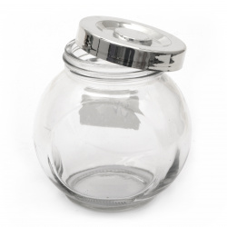 Glass jar 71x99x99 mm metal cap color silver 380 ml