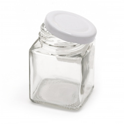 Glass jar square 45x52 mm metal cap color silver 50 ml