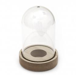 Бурканче пластмаса стъкленица 12.5x8 см на дървена основа с дупка -1 брой
