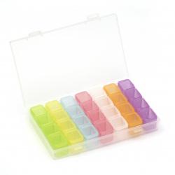 Кутия пластмасова 17x10.6x2.6 см със 7 кутийки 10x2.4x2.1 см с по 4 разделения и отделни капачета