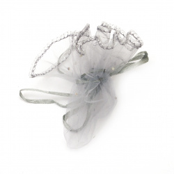 Organza Jewelry Gift Bag 26 cm gray with pattern