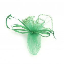 Organza Jewelry Gift Bag 26 cm green with pattern