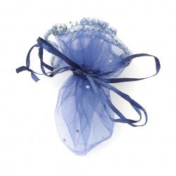 Торбичка за бижута 26 см синя тъмна с шарка