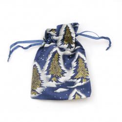 Jewelry bag 9x12 cm blue with Christmas Trree