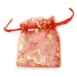 Hearts Printed Organza Gift Bag 9x11.5 cm red with gold