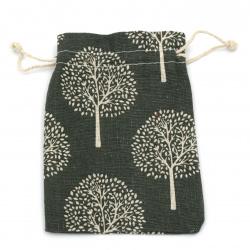 Торбичка памук 10x14 см щампа дървета