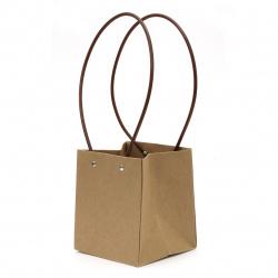 Опаковка за цветя хартиена чанта 15x13x12.5 см крафт