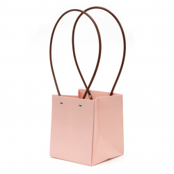 Опаковка за цветя хартиена чанта 15x13x12.5 см бледо розова