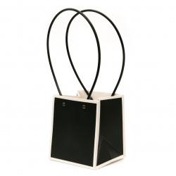 Опаковка за цветя хартиена чанта 15x13x12.5 см черна с бяло