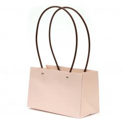 Опаковка за цветя хартиена чанта 22x13.5x10 см бледо розова