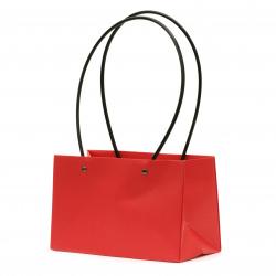 Опаковка за цветя хартиена чанта 22x13.5x10 см червена